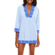 Liz Claiborne® Indigo Nights 3/4-Sleeve Tunic Swim Coverup