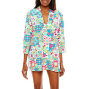 Liz Claiborne® Tunesia Tiles 3/4-Sleeve Tunic Swim Coverup