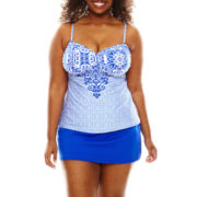 Liz Claiborne® Indigo Nights Over The Shoulder Bandeaukini Swim Top or Solid Skirted Swim Bottoms - Plus