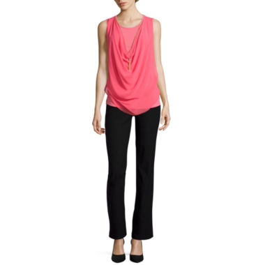 jcpenney.com | By & By Sleeveless Necklace Top and Slim Fit Pants