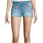 Blue Spice Floral-Embroidered Denim Shorts