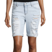 Sapphire Ink Slim-Fit Destructed Bermuda Shorts - Juniors
