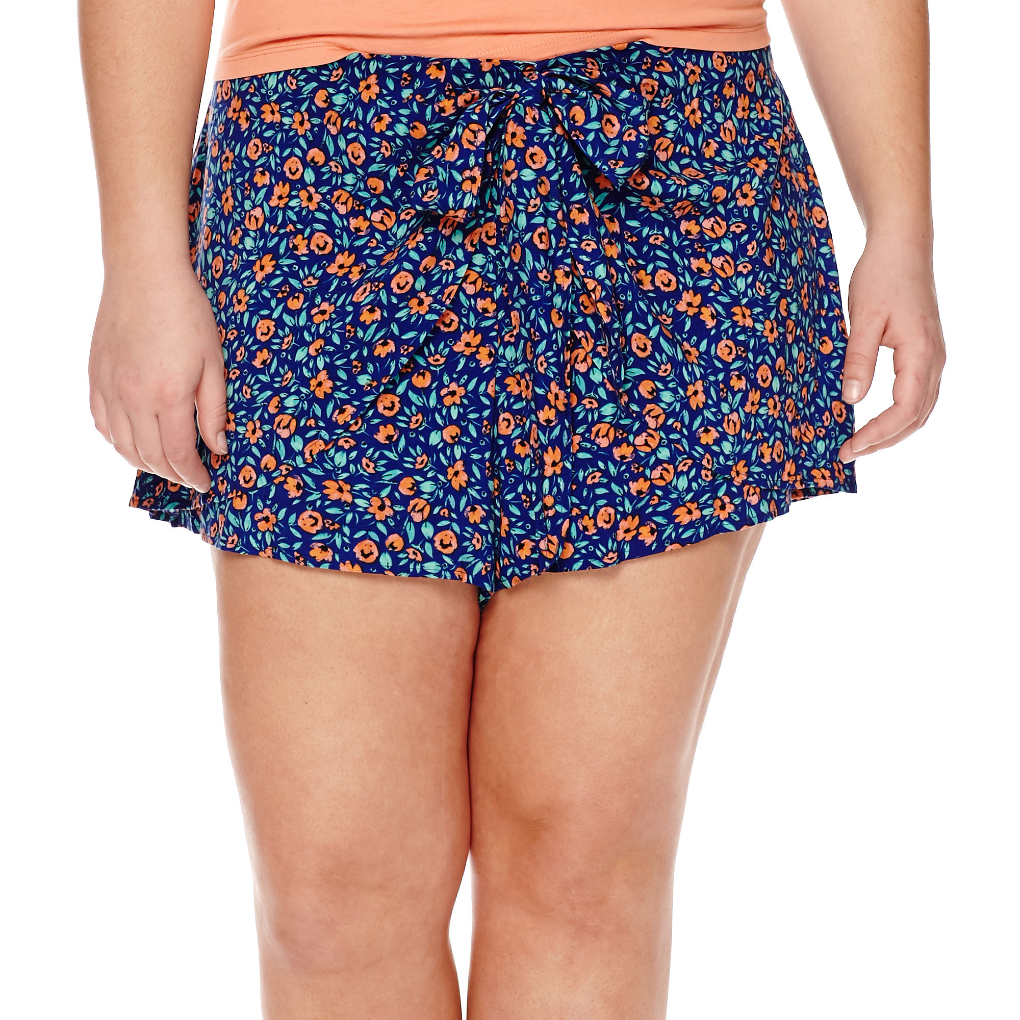 Arizona Low-Rise Wrap Shorts - Juniors Plus plus size,  plus size fashion plus size appare