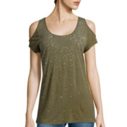 i jeans by Buffalo Short-Sleeve Cold Shoulder Shimmer Bling Top