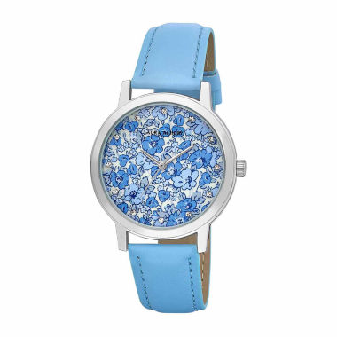 jcpenney.com | Laura Ashley Womens Floral Print Dial Blue Strap Watch-LA31022BL