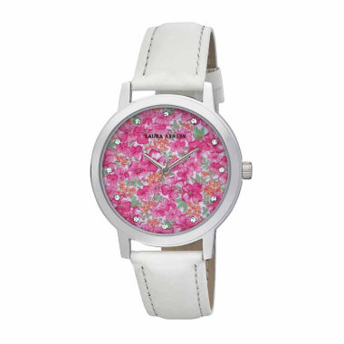jcpenney.com | Laura Ashley Womens Floral Print Dial White Strap Watch-LA31022WT