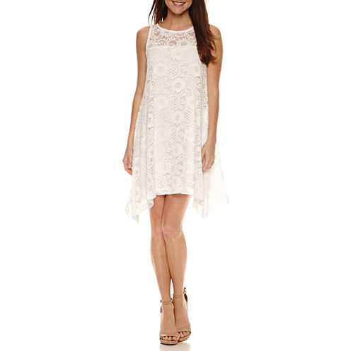 Robbie Bee Sleeveless Lace Shift Dress-Petites