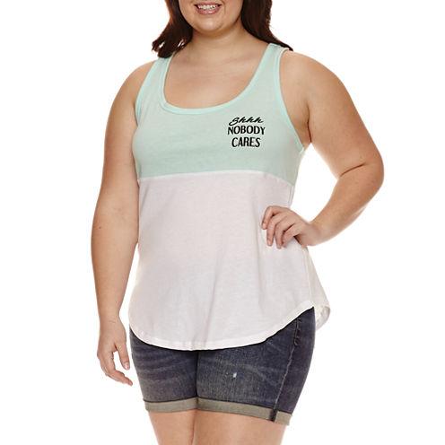 Cotton Blend Tank Top-Juniors Plus