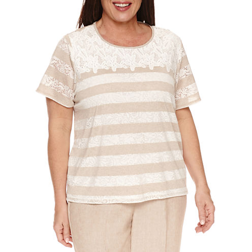 Alfred Dunner Short Sleeve Crew Neck T-Shirt-Womens Plus