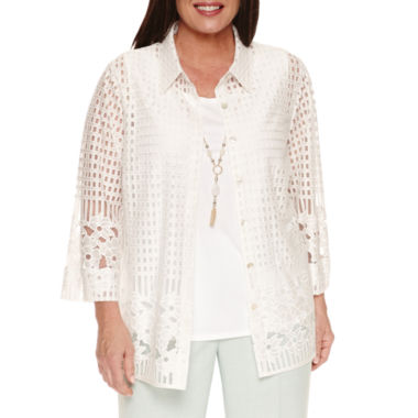 jcpenney.com | Alfred Dunner 3/4 Sleeve Layered Top Plus