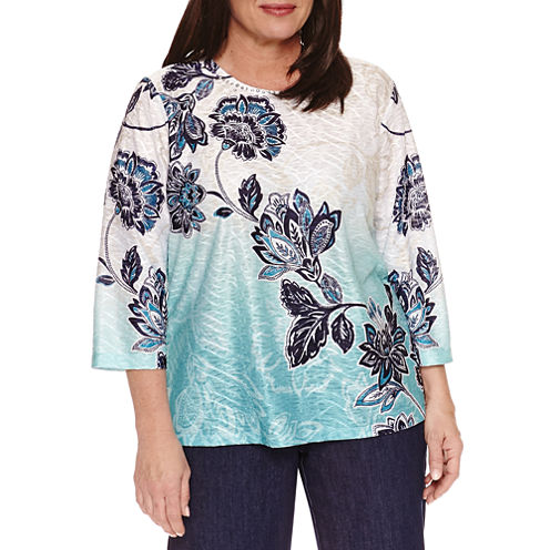 Alfred Dunner 3/4 Sleeve Crew Neck T-Shirt-Womens Plus