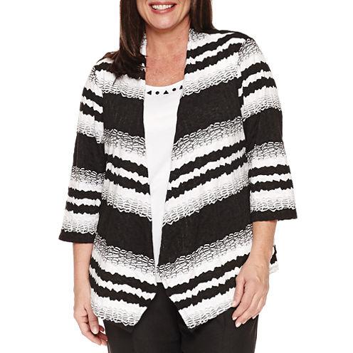 Alfred Dunner 3/4 Sleeve 2fer Textured StripeSweater-Plus