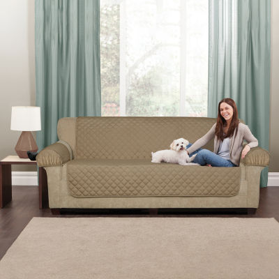 Maytex Smart Cover Ultra Soft Waterproof Quilted Faux Suede 3 Piece Loveseat Furniture Pet