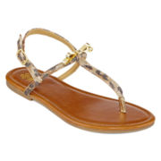 Stevies® Sunny Leopard Strap Sandals - Little Kids/Big Kids
