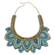 Mixit™ Aqua and Clear Seed Bead Gold-Tone Necklace