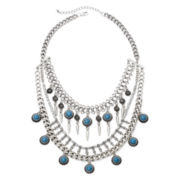Mixit™ Aqua Bead Silver-Tone 3-Row Necklace