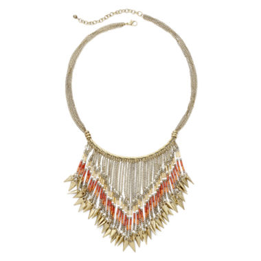 jcpenney.com | Mixit™ Orange Seed Bead Gold-Tone Bohemian Statement Necklace