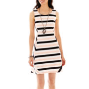 Worthington® Striped Fit-and-Flare Dress, Oval Pendant Necklace, Tri-Tone Bracel