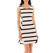 Worthington® Sleeveless Striped Fit-and-Flare Dress