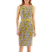 London Style Collection Geo Print Belted Sheath Dress