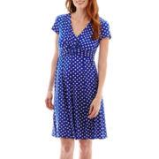Perceptions Short-Sleeve Polka Dot Dress with Buckle
