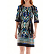 Studio 1® Elbow-Sleeve Geo Print Shift Dress