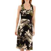 Perceptions Sleeveless Banded Waist Floral Print Dress