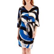 London Style Collection Brushstroke Kimono-Sleeve V-Neck Blouson Dress