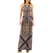 London Style Collection Halter Floral Print Maxi Dress
