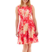 Studio 1® Sleeveless Floral Print Fit-and-Flare Dress - Petite