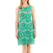 Trulli Sleeveless Floral Lace Sheath Dress - Petite