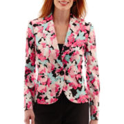 Black Label by Evan-Picone Long-Sleeve One-Button Floral Print Jacket