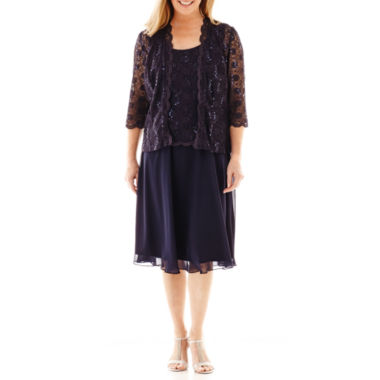 jcpenney.com | R&M Richards 3/4-Sleeve Lace Overlay Jacket Dress
