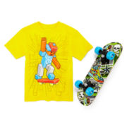 Graphic Tee with Toy Skateboard - Preschool Boys 4-7
