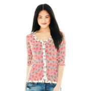 Joe Fresh™ 3/4-Sleeve Floral-and-Stripe Cardigan