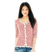 Joe Fresh™ 3/4-Sleeve Floral-and-Stripe Cardigan