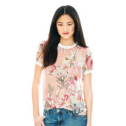 Joe Fresh™ Short-Sleeve Sheer Floral Print Tee