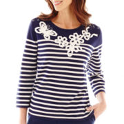 Alfred Dunner® Bon Voyage 3/4-Sleeve Beaded Striped Sweater