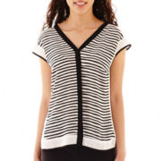 Worthington® Short-Sleeve Button-Front Top - Petite