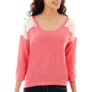 a.n.a® 3/4-Sleeve Lace-Yoke Sweatshirt - Petite