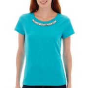 St. John's Bay® Short-Sleeve Jeweled T-Shirt - Petite