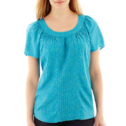 St. John's Bay® Short-Sleeve Pleat-Front Popover Top - Petite