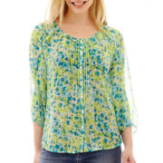 St. John's Bay® 3/4-Sleeve Pintuck Peasant Top - Petite