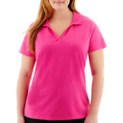 St. John's Bay® Short-Sleeve Y-Neck Polo Shirt - Plus