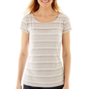 Liz Claiborne® Short-Sleeve Sheer-Striped Tee with Cami