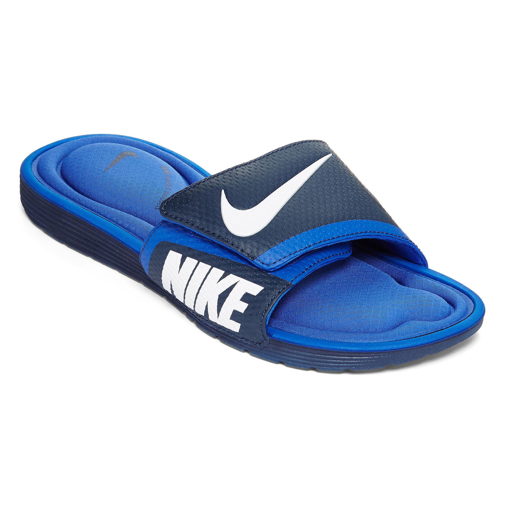 459a50c67 ... Sandal With Comfort Footbed Blue white UPC 888408315090 product image  for Nike Solarsoft Mens Comfort Slide Sandals
