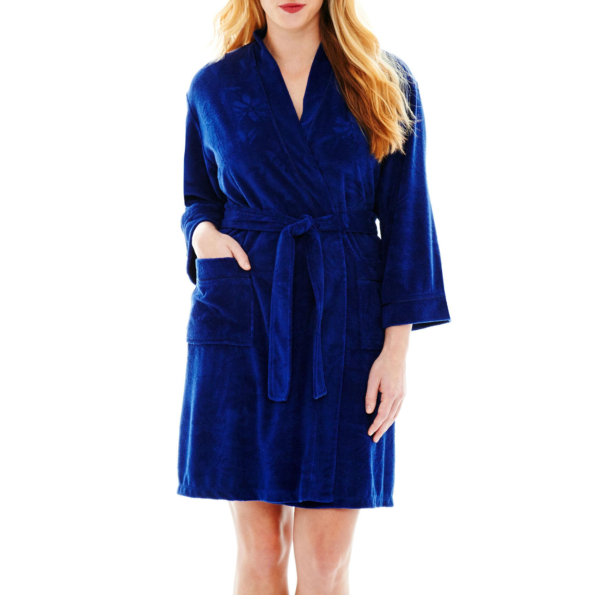 Earth Angels 3/4-Sleeve Short Wrap Robe - Plus