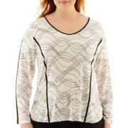 Worthington® Long-Sleeve Piped Print Top - Plus