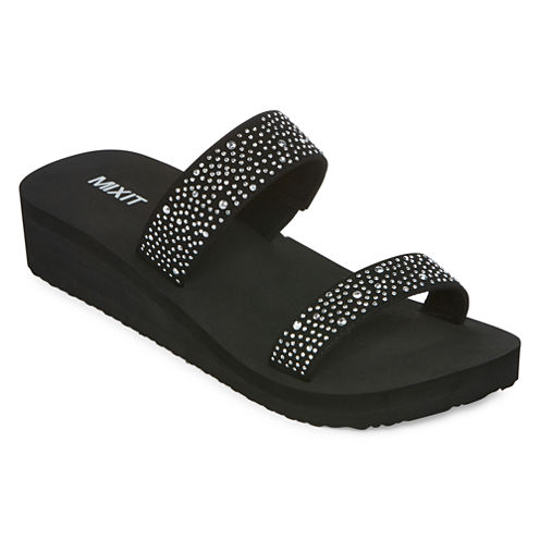 Mixit™ Double Strap Nail Stud Wedge Sandals
