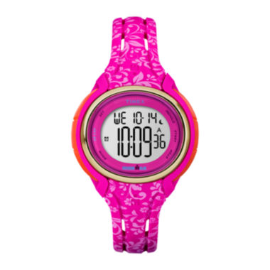 jcpenney.com | Timex® Womens Sleek Hot Pink Floral 50 Lap Strap Watch